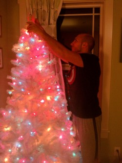 Rob Taylor setting up fake Christmas tree 1