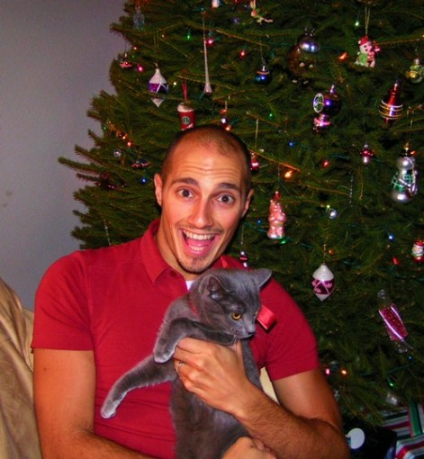 Rob Taylor and Cat with Christmas Tree 2006
