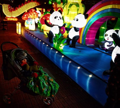 Taylor Kids with Pandas at Chinese Lantern Festival Atlanta 2