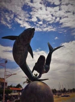 Dolphin Mermaid statue La Paz Mexico