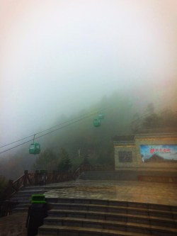 Gondolas in the fog at Taibai Mountain National Park 1