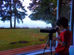 Looking through the telescope at Domaine Madeleine Port Angeles 1