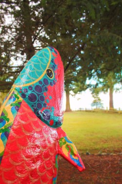 Painted Fish Sculpture at Domaine Madeleine Port Angeles 1