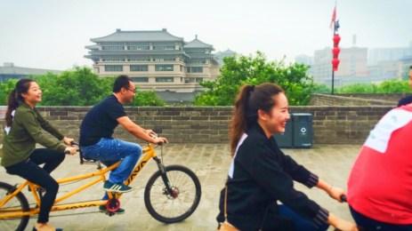 Tourists biking on top of Xian City Wall 1