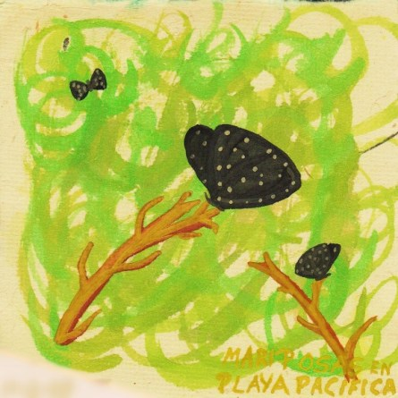 Watercolor painting of Black Butterflies at Playa Pacifica 1
