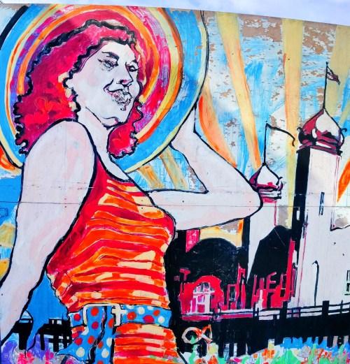 Colorful woman mural at Santa Monica Pier 2