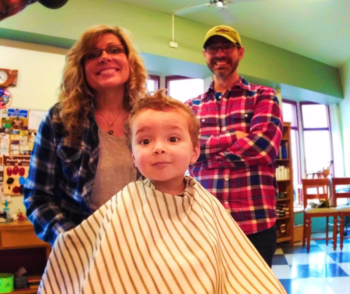 LittleMan getting a haircut at Barbershop Port Townsend 1
