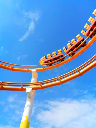 Rollercoaster on Santa Monica Pier with blue sky 1
