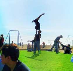 Street performers working out at Santa Monica beach 1