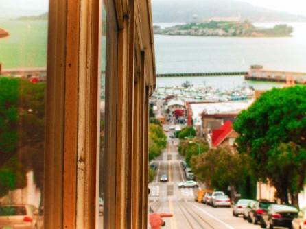 Cable Car in San Francisco Alcatraz in bay 1