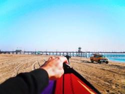 Taylor Family flying kites at Huntington Beach 3