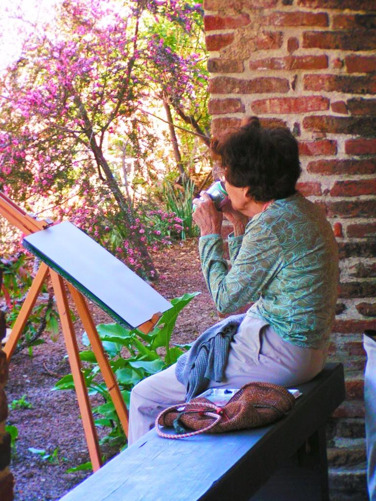 Woman painting at Mission San Juan Capistrano 1