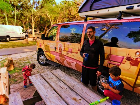 Taylor family and Escape Campervan at Collier Seminole State Park Naples 3