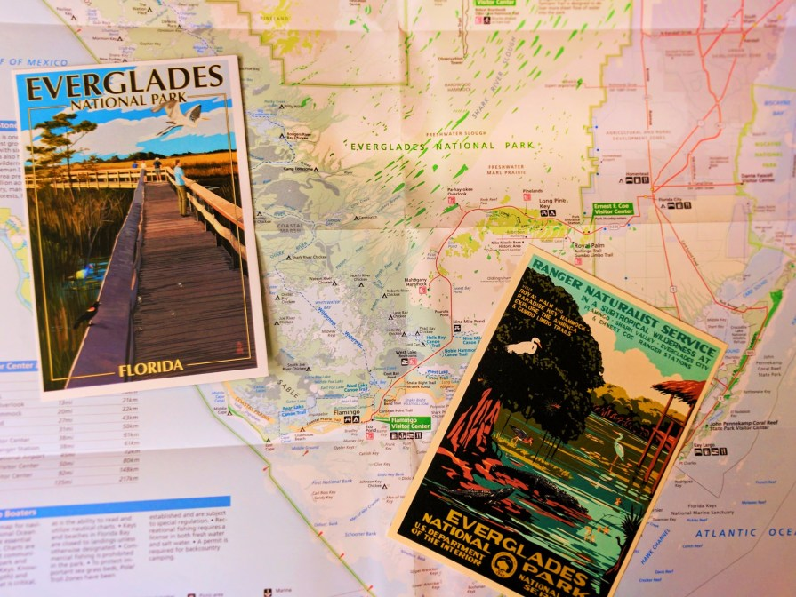 Vintage Everglades National Park postcard and map 3