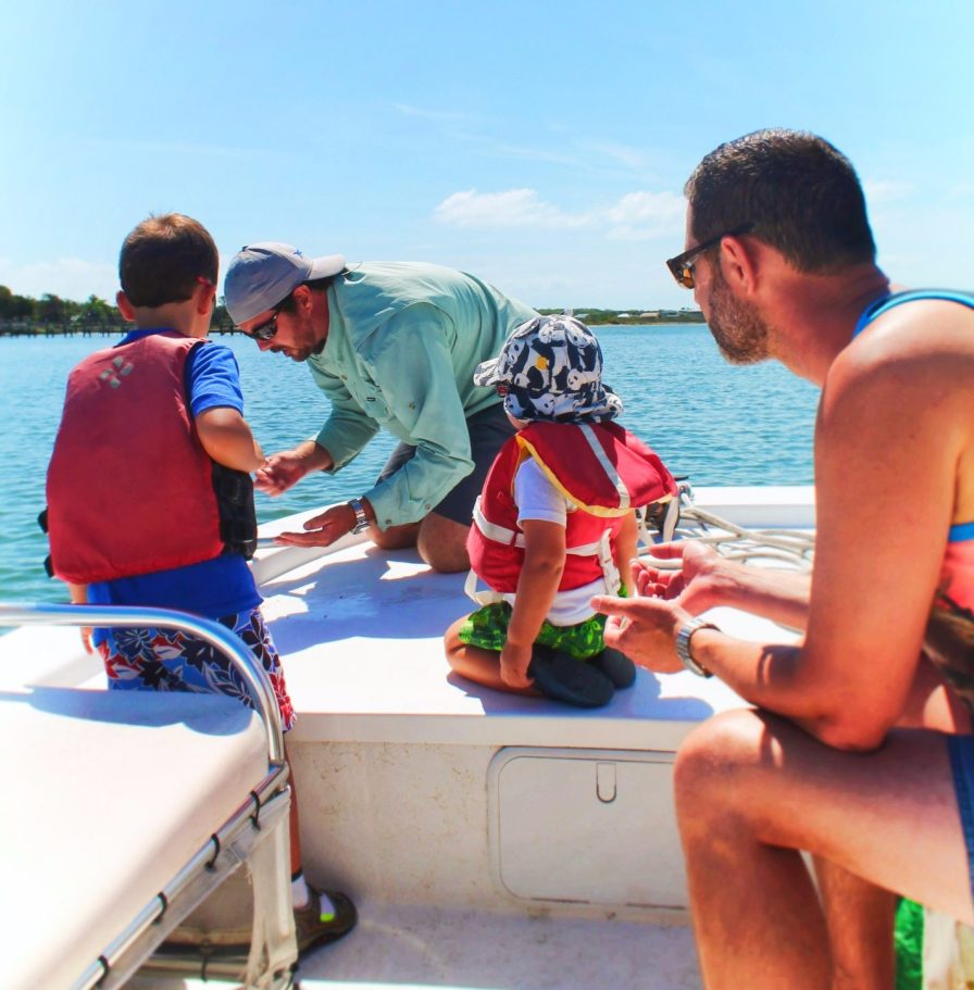 Taylor Family Exploring sargassum seaweed St Augustine Ecotours 2