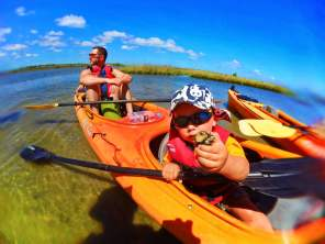 Taylor family kayaking Ripple Effect Ecotours crown conch at GTM Reserve St Augustine 3