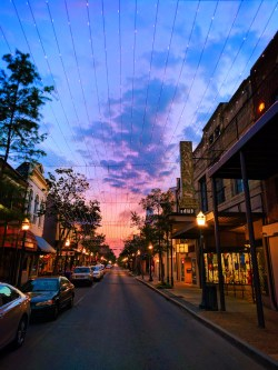 Historic District Dauphin St Downtown Mobile Alabama at sunset 1