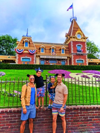 Taylor Family by Train Depot on Main Street USA Disneyland 2