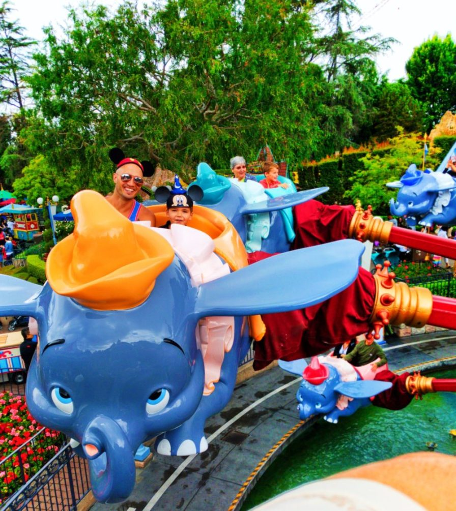 Taylor Family on Dumbo in Fantasyland Disneyland 2