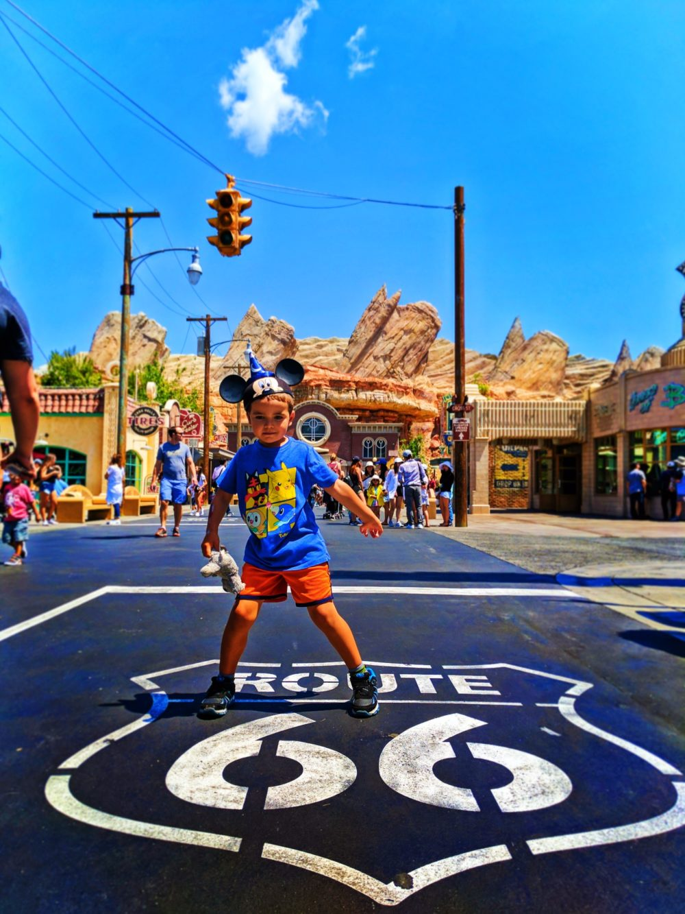 Taylor Family on Route 66 Sign Cars Land Disneys California Adventure 2