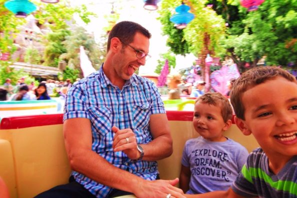 Taylor Family spinning in Teacups in Fantasyland Disneyland 1
