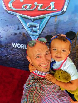 Taylor Family with Movie Publicity signage at Cars 3 Premiere Disneyland 2017 3