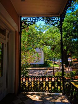 Wrought iron balcony in Mobile Alabama historic district 1