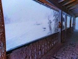 Icicles at Visitors Center at Hurricane Ridge Olympic National Park in snow 2