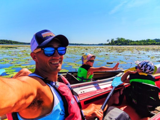 Taylor family Simply Amevie sunglasses Little Hotdog Watson hats kayaking with Wingra Boats Madison Wisconsin 2