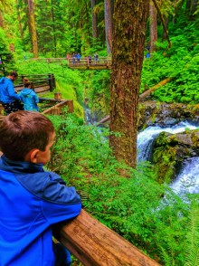 Taylor family at waterfalls in Rainforest Sol Duc Falls Olympic National Park 1