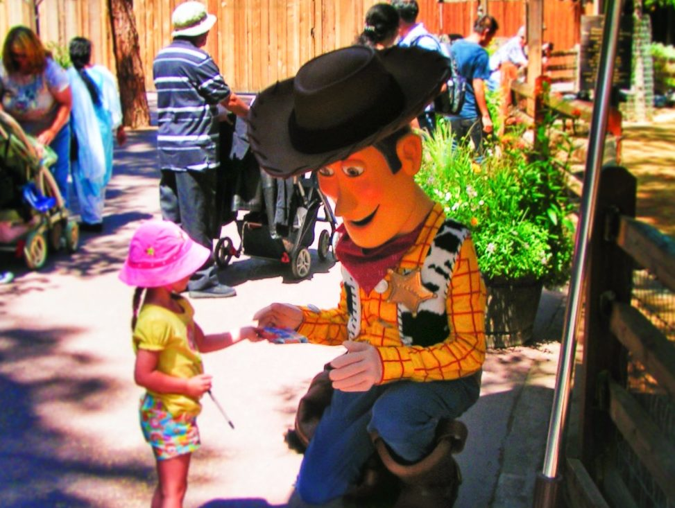Woody from Toy Story in Frontierland Disneyland 1