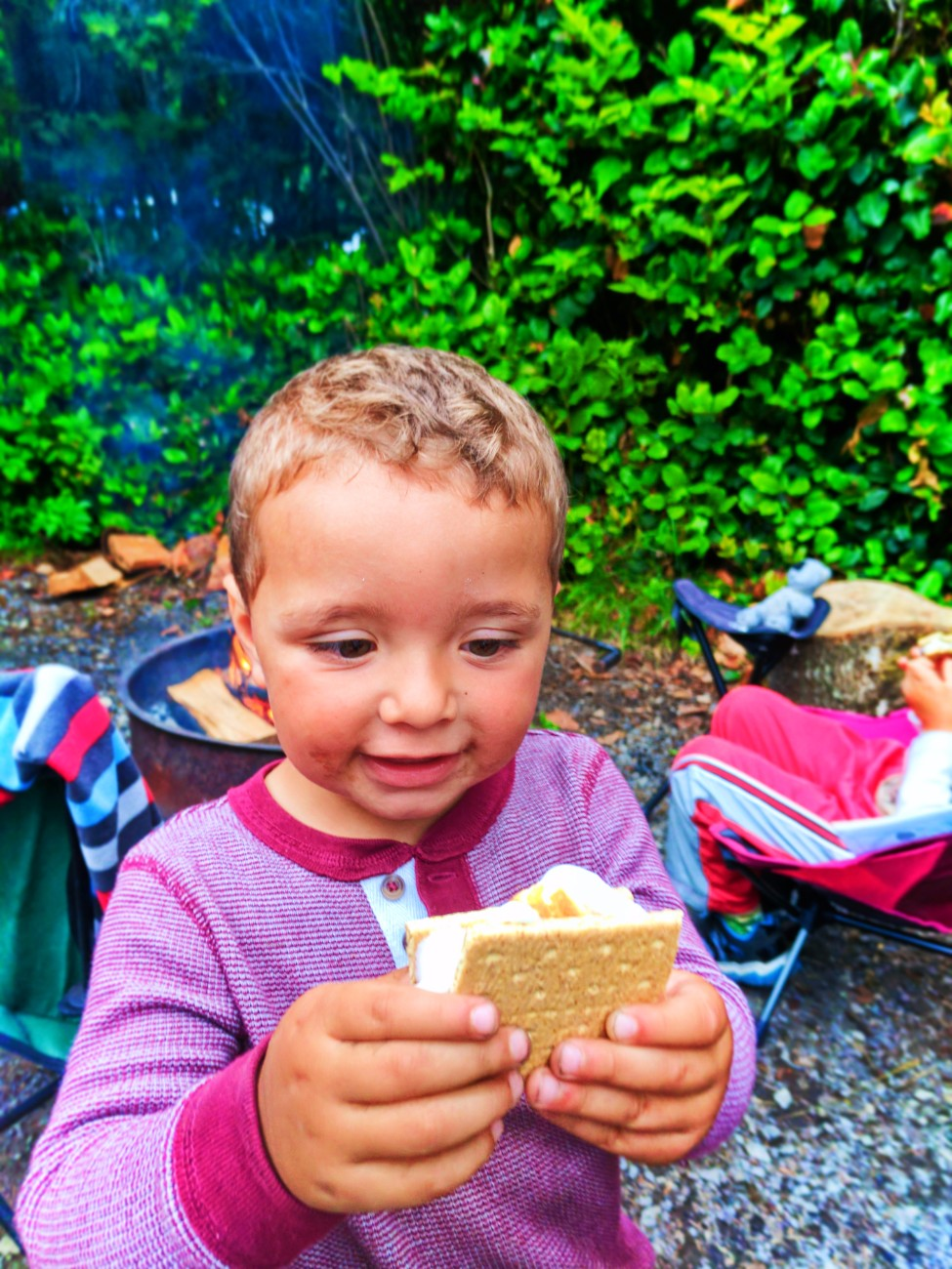 Taylor Family smores camping at Kalaloch Campground Olympic National Park 1