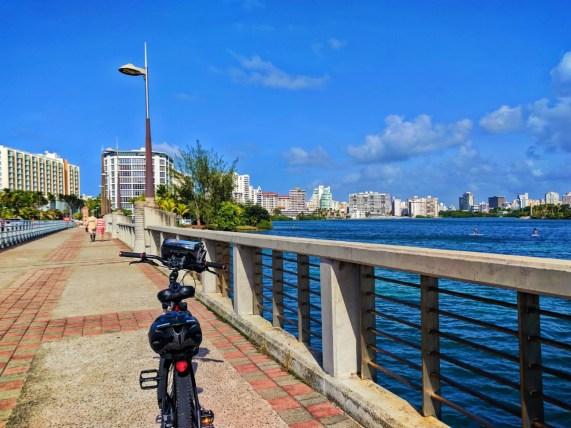 Biking across the Laguna Condado in San Juan Puerto Rico 1