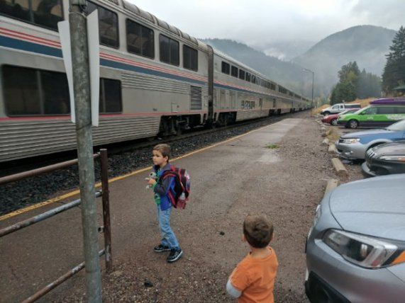 Taylor family arriving in West Glacier Montana via Amtrak Empire Builder