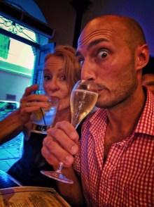 Rob and Maureen toasting in Old San Juan Puerto Rico 1