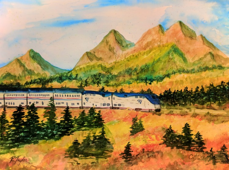 Rob Taylor Watercolor of Amtrak Empire Builder passing Glacier National Park in Fall 1
