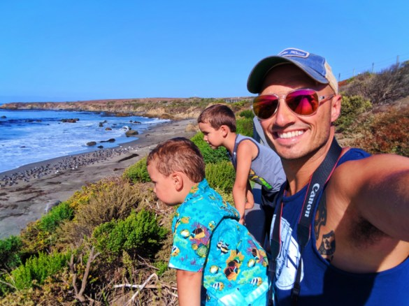 Taylor Family at Elephant Seal colony at Hearst San Simeon State Park 7