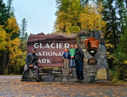 Taylor Family at Glacier National Park sign 3