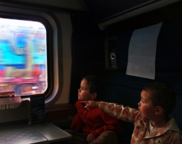 Taylor Family on Amtrak Empire Builder sleeping car 1