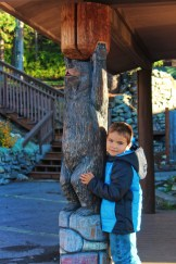 Taylor Family with Bear carving at West Glacier Amtrak Train Station 1