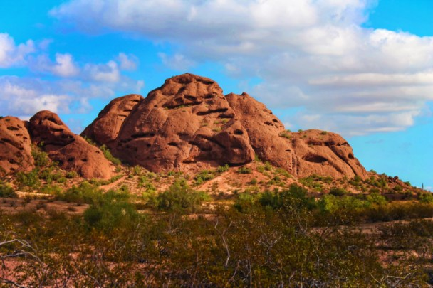 Taylor family hiking at hole in the rock at Papago Park Phoenix Tempe 12
