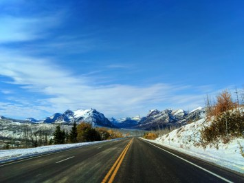 Snowy Mountains and fall colors outside East Glacier National Park 6
