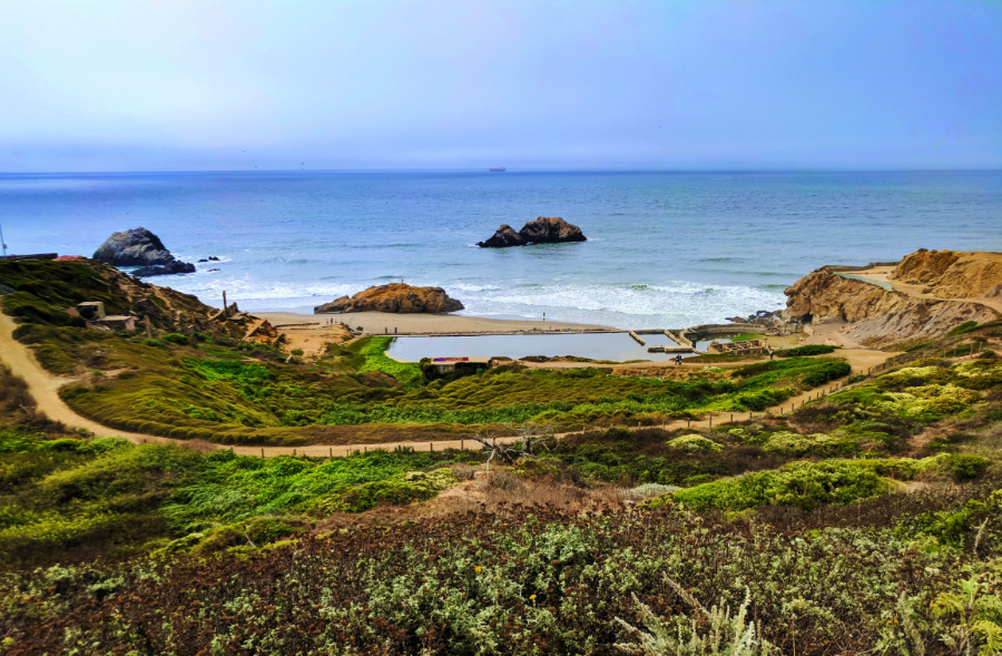 Sutro Baths from Lands End Lookout Visitors Center GGNRA San Francisco 1