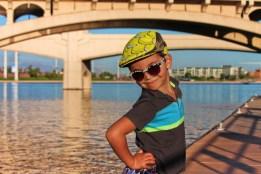 Taylor Family at Tempe Town Lake Kayaking under bridges 1