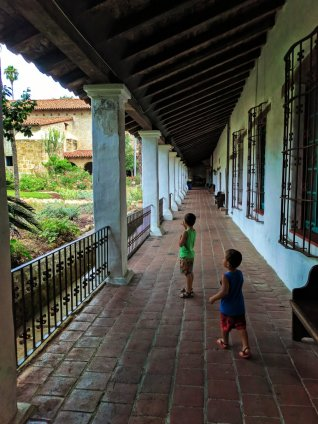Taylor Family in courtyard at Mission Santa Barbara 1