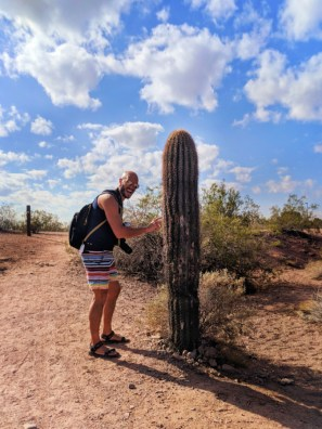 Taylor family with cactus at Two Buttes at Papago Park Phoenix Tempe 5