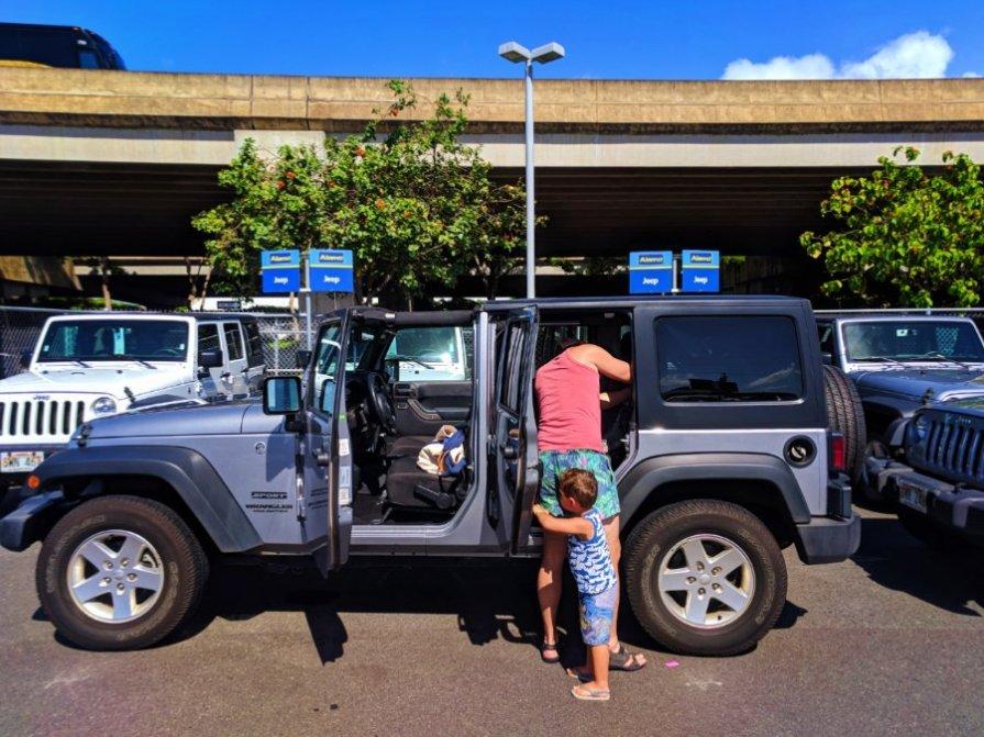Taylor Family with Alamo Jeep in Honolulu Oahu 1