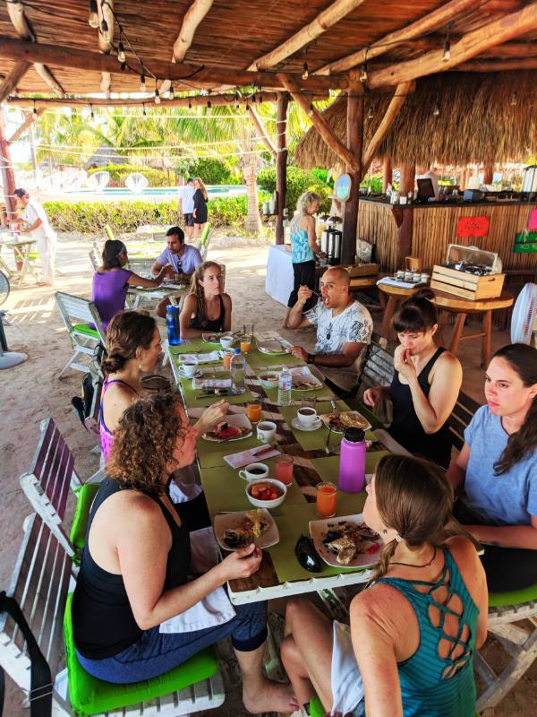 Group Meal at Isla Holbox Yoga Retreat 1