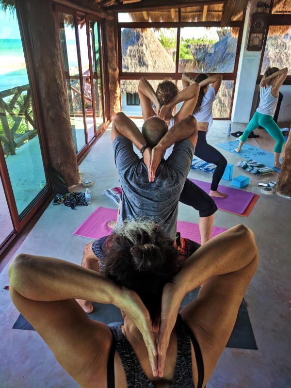 Participants with Victor Varana at Isla Holbox Yoga Retreat 11