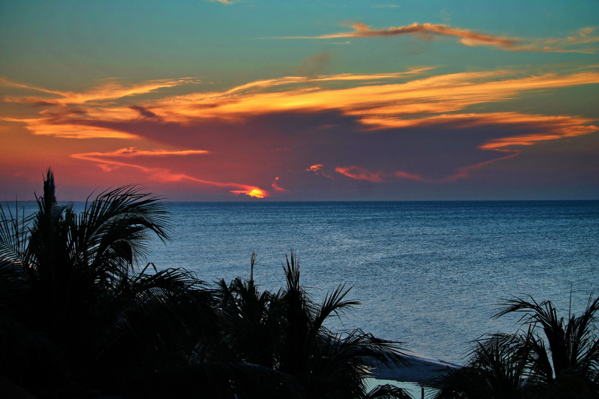 Sunset from Isla Holbox Yoga Retreat 2